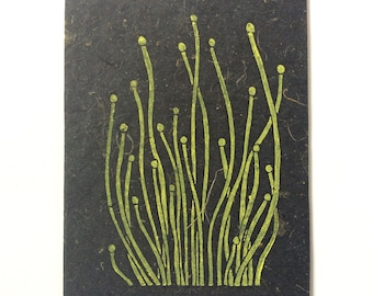 linocut - SPROUTS // 5x7 art print // printmaking // block print // nature art // seedlings // yellow, black // small // 4x6 wall art
