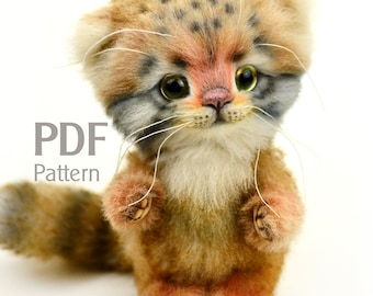PDF pattern artist teddy cat manul Benno 6.1 in, ePattern, Instant Download, Pallas's cat sewing pattern, kitten, artist cat pattern, manul