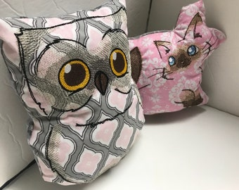 Simple Cotton Stuffies - Embroidered Cotton Designs turned into customized stuffed critters