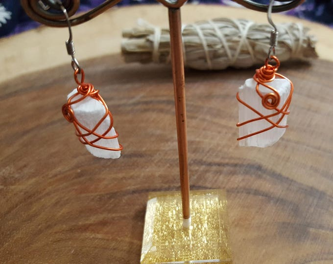Selenite wire wrapped earrings ~ 1 pair Reiki infused earrings (SE05)