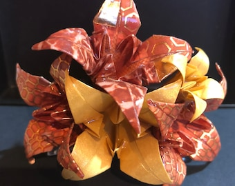 Handmade Origami Lily hair comb brown and gold