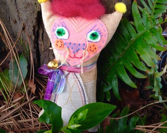 Tabitha upcycled fabric, hand embroidered, Rag Doll Kitten with metal bell