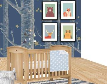 Woodland nursery art print, print set of 4, animal art, owl, bear print, deer print, squirrel print, nursery wall decor, 614