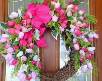 Pink Tulip Wreath - wreaths - Summer wreath - Front door decor - Mothers day gift -Shocking Pink wreath - door wreath - front door decor