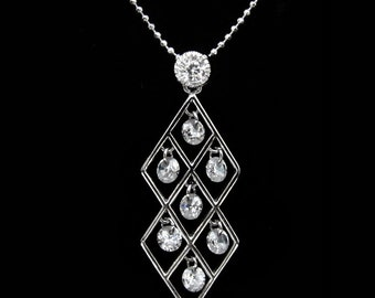 Cubic Zirconia CZ Double Diamond With Drops Pendant Charm Chain Necklace Silver Tone Clear