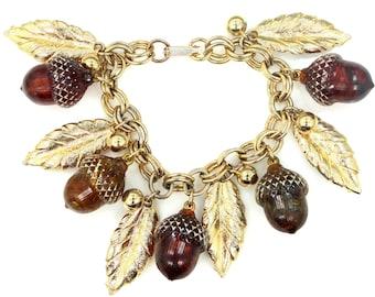 Neat Etched Lucite Acorns & Gold Tone Leaves Bracelet