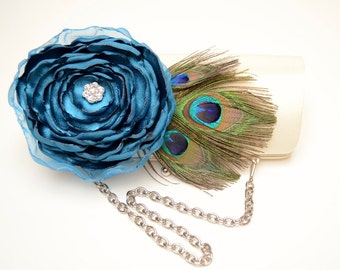 Bridal Clutch ~ Ivory & Teal Peacock Feather Clutch ~ Bridesmaid Clutch ~ Rhinestons Clutch ~ Large Clutch with a Chain ~ Boho Chic ~