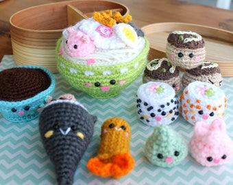 Crochet Pattern Amigurumi Food Bento Family II Crochet Pattern/ Sushi Set