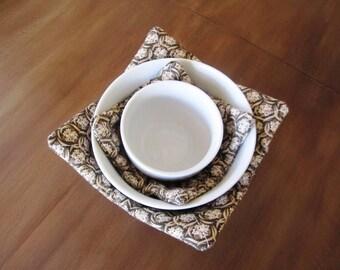 Brown Basket-weave Microwave Bowl Cozies