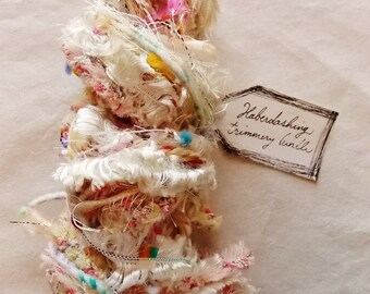 Frosting and Sprinkles white fringe pom rainbow cream trim Novelty Fiber Yarn Sampler Bundle