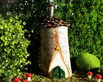 Woodland Fairy House with Teal Double Doors with Pine Cone Roof and Stove Pipe