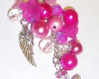 Realm of Angel Beads and Crystals 'Angels Rose' Bag Charm / Keychain ~ Cerise /Tourmaline Mix