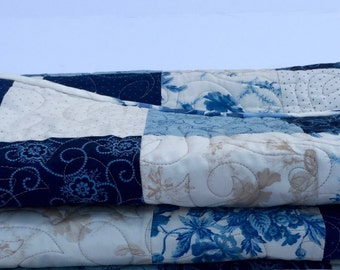 Patchwork Modern Baby Quilt- in Blue and Beige
