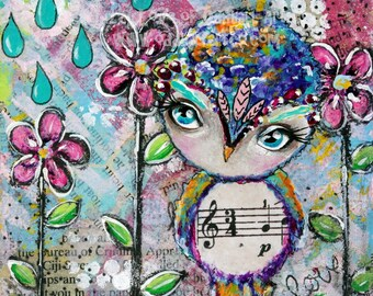 Mixed Media Owl Big Eye Art Giclee Print Signed Reproduction Love Drops No.1 by Lizzy Love [IMG#68]
