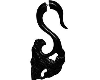 Fake Horn piercing hook spiral claw hand carved black daga earring Swan (FOH-81-4)