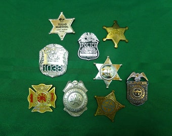 Vintage toy badge lot-sheriff marshal police aaa patrol badges collection-obsolete