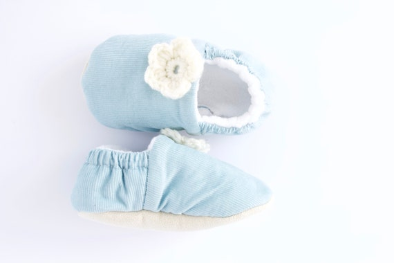 Baby blue soft corduroy pre walker & Toddler shoe with ivory crochet flowers