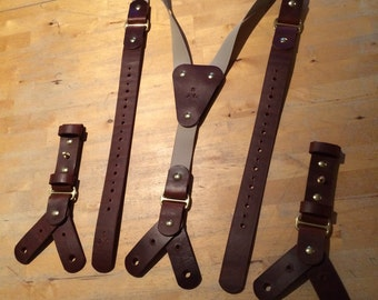Leather braces Leather suspenders Braces Suspenders Button braces Button suspenders Mens braces Mens suspenders Leather Veg tan leather edc