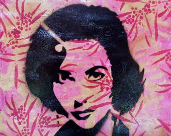 Liz Taylor Stencil Painting on Pink and Red