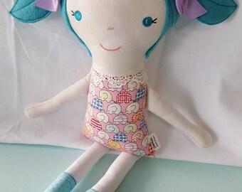 Custom Made Cloth Rag Doll/Fabric Doll/My First Doll/Doll Softie/Stuffed Toy I Love Elephants