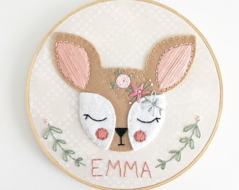 """MADE-TO-ORDER:  7"""" or 9"""" Flower Fawn name embroidery hoop"""