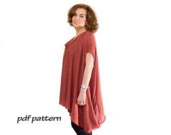 Oversize pattern Convertible pullover Long tunic Oversize Plus size tunic Knit sweater Cotton tunic  Plus size top Long tunic Knitted tunic