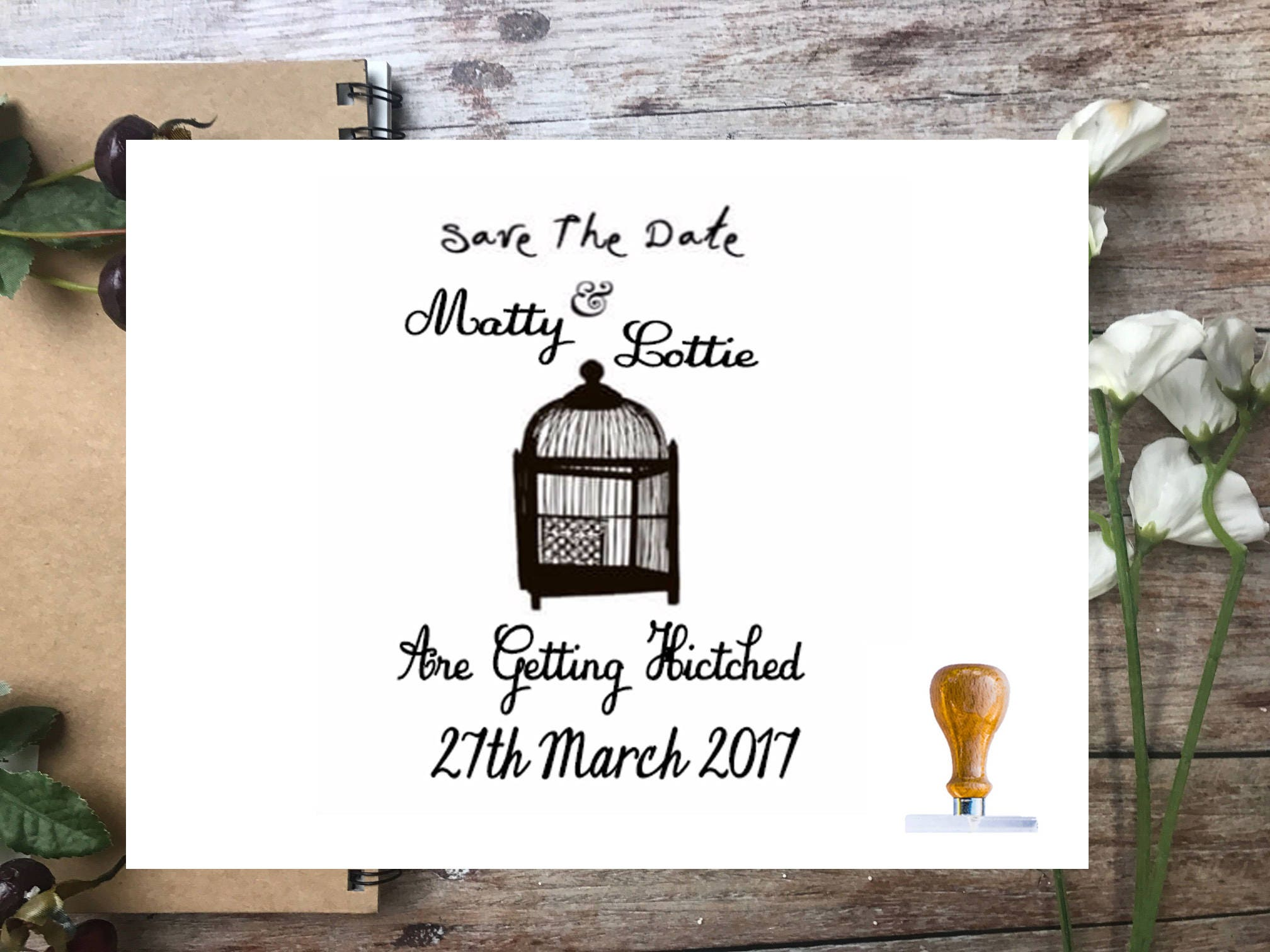 BIRD CAGE Save the date Rubber Stamp, Fully customizable wedding ...