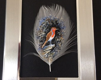 Robin on a Feather.Hand Painted Feather. Robin original. Robin  lovers.Handmade. Framed.