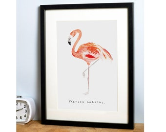 Flamingo A4 Art Print - Fabulous Darling - beautifully illustrated gifts - eco friendly stationery - liz temperley - made in the UK