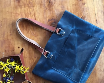 Blue Leather Tote, Statement Tote, Unlined Leather, Raw Edge Leather, Leather Purse