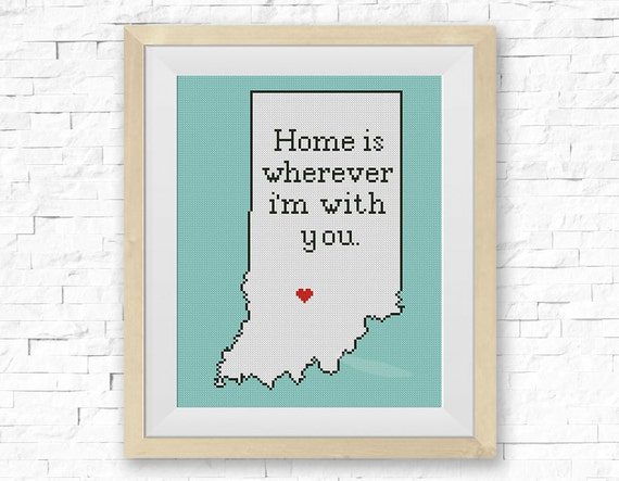 Cross Stitch Pattern, Indiana State Map, Home Is Wherever..., Silhouette Map,  Сounted Cross Stitch, BOGO FREE! Instant PDF Download #039 12