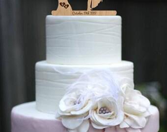 Wedding Cake Topper Rustic Cake Topper Custom Cake Topper Wood Cake Topper Mr Mrs Cake Topper Tree wedding topper Last Name Topper Gold