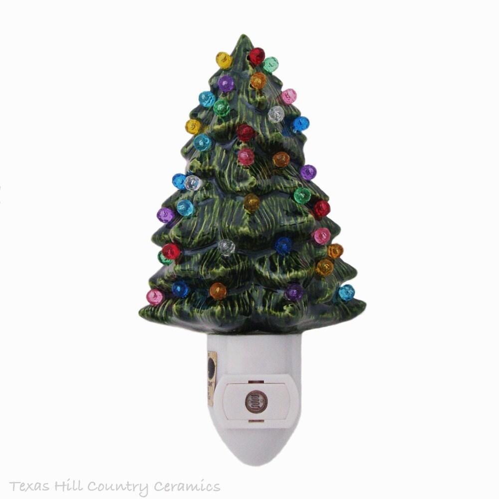 Automatic Christmas Tree: Little Green Ceramic Christmas Tree Night Light Color Globes