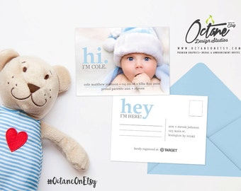 5x7 'Hi' themed Birth Announcement + FREE matching thank you card
