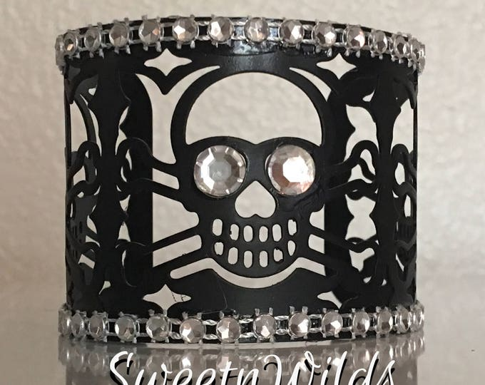 Skull  Cuff Bracelet-Metal-Goth Jewelry-READY TO SHIP-Halloween Decoration-Diamonds-Bling-