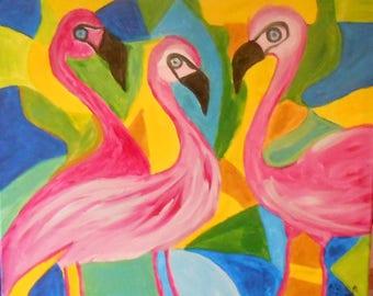 Lake Nakuru in acrylic on canvas