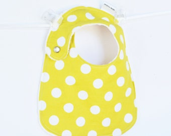 Unisex Baby Bib with Minky, Sunny Yellow Polka Dots