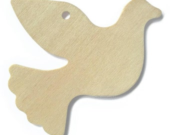 """10 Wood Dove Gift Tags, 4"""" Wide, 1/8"""" Thick"""