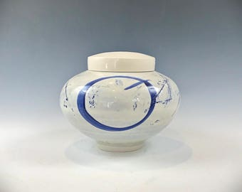 Ceramic Urn, Pet Urn, Keepsake Urn White and Blue Porcelain