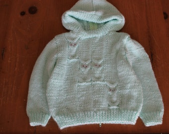 Owl Knit Zip-Up Baby Sweater