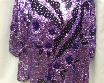 1980s Purple Sequin Top - Size 14 - 16 - 44'' Bust - Disco - Genuine Vintage