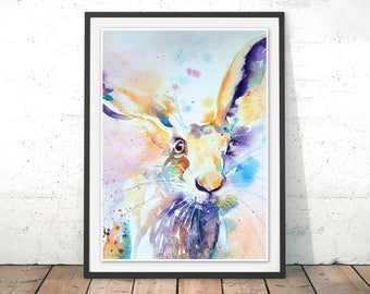 Spring Hare Painting, Colourful Hare Print, Rabbit Wall Art, Hare Watercolour Art Print, Hare Woodland Wildlife Poster, Hare by Liz