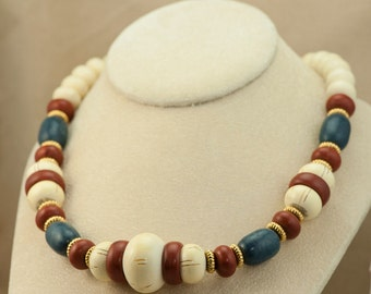 AVON Necklace - Wood Bead Necklace  Gold Spacers - Reddish Brown, White and Blue Colored Beads Vintage