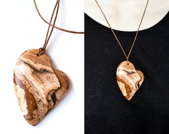 Picture Jasper Necklace, Heart Pendant, Gift for Mom, Natural Stone Necklace, Large Stone Pendant, Long Necklace, Healing Worry Stone
