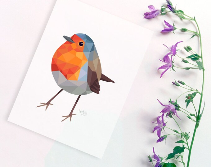 Robin red breast print, Robin illustration, Robin painting, Cute robin art, European robin, Bird nursery art, Woodland animal art, Robin art