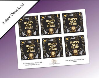 New Year's Eve Printable Cards, Holidays Printable, New Year's Eve Party Favors, Happy New Year, 2018 Happy New Year Cards, New Year's Eve