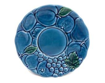 Vintage Inarco Mood Indigo Blue Fruit Plate Embossed Fruits Platter Candle Holder Dessert Dish Japan Majolica Pottery 1960s Kitchen
