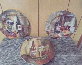 Set Of 3 The Sakura Table Classico Wine Dessert/Snack/Salad Plates Designed By Silvia Vassileva