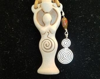 Goddess raku potion bottle necklace