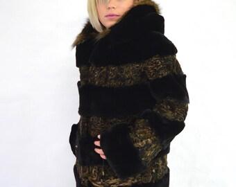 Real fur coat, rusty Persian/Swakara fur hooded coat, sheared rex rabbit fur coat, genuine rabbit full skin fur pelt, fox fur trim hood.